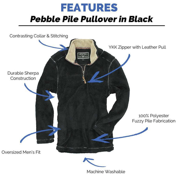 Pebble Pile Pullover 1/2 Zip in Black by True Grit