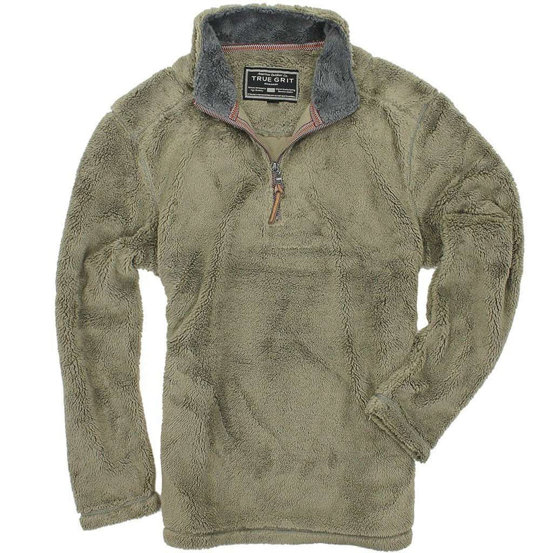Men's Outerwear - Pebble Pile Pullover 1/2 Zip In Gravel By True Grit