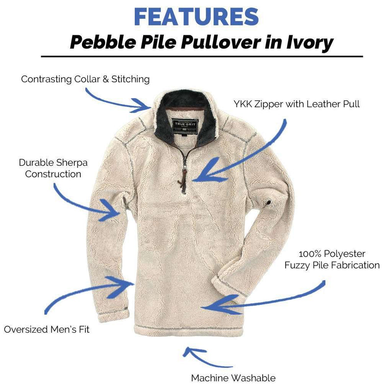 Men's Outerwear - Pebble Pile Pullover 1/2 Zip In Ivory By True Grit