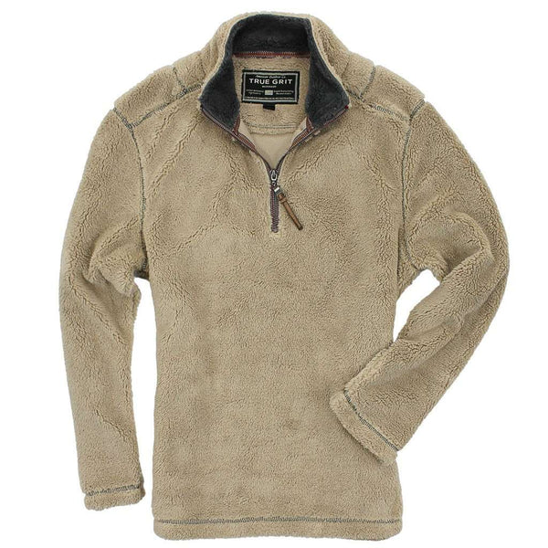 Men's Outerwear - Pebble Pile Pullover 1/2 Zip In Sandstone By True Grit