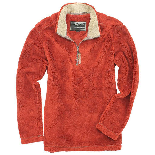 Men's Outerwear - Pebble Pile Pullover 1/2 Zip In Spice By True Grit