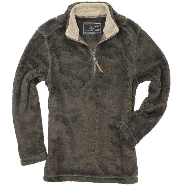 Pebble Pile Pullover 1/2 Zip in Vintage Brown by True Grit - Country Club Prep