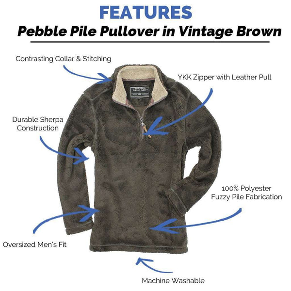 Men's Outerwear - Pebble Pile Pullover 1/2 Zip In Vintage Brown By True Grit