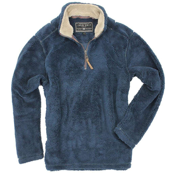 Pebble Pile Pullover 1/2 Zip in Vintage Denim by True Grit - Country Club Prep
