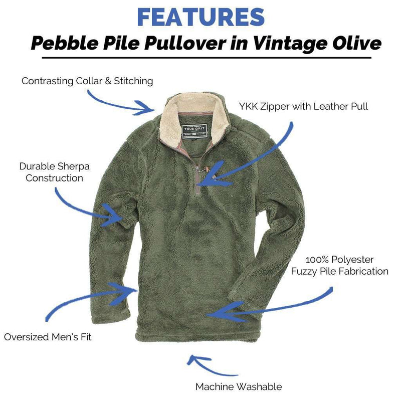 Men's Outerwear - Pebble Pile Pullover 1/2 Zip In Vintage Olive By True Grit