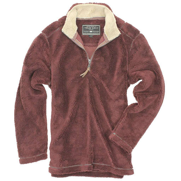 Men's Outerwear - Pebble Pile Pullover 1/2 Zip In Vintage Wine By True Grit
