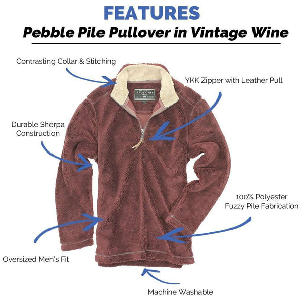 Pebble Pile Pullover 1/2 Zip in Vintage Wine by True Grit