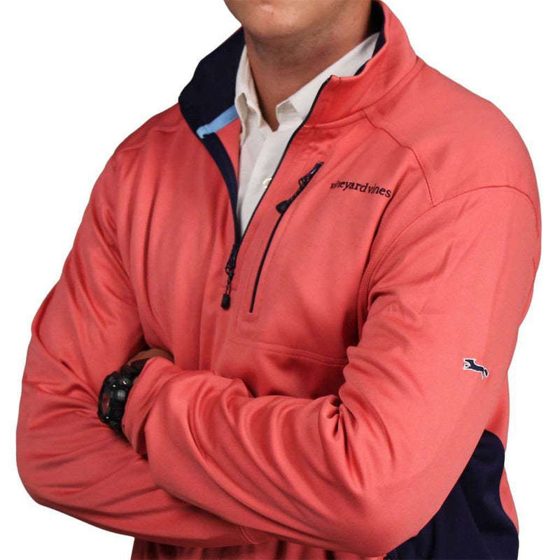Men's Outerwear - Performance Jersey 1/4 Zip In Jetty Red By Vineyard Vines
