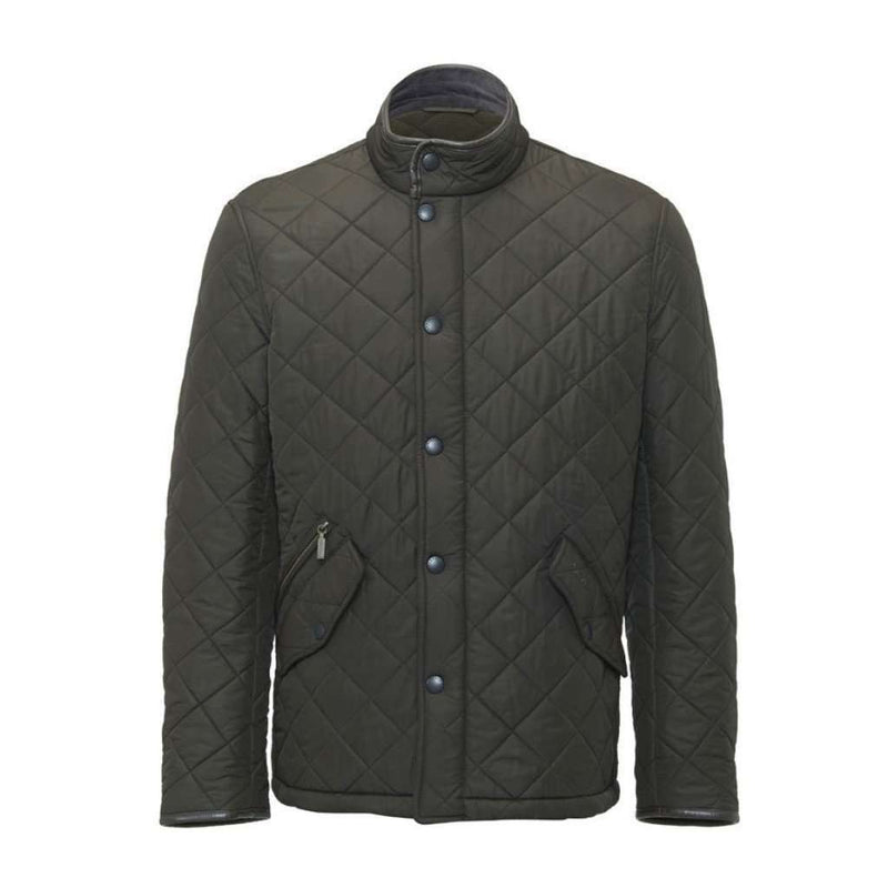 Men's Outerwear - Powell Quilted Jacket In Olive Green By Barbour