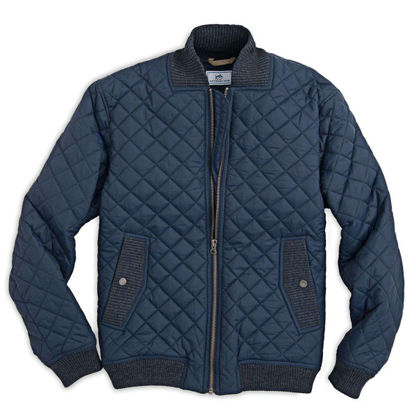 Southern Tide Quilted Bomber Jacket In True Navy