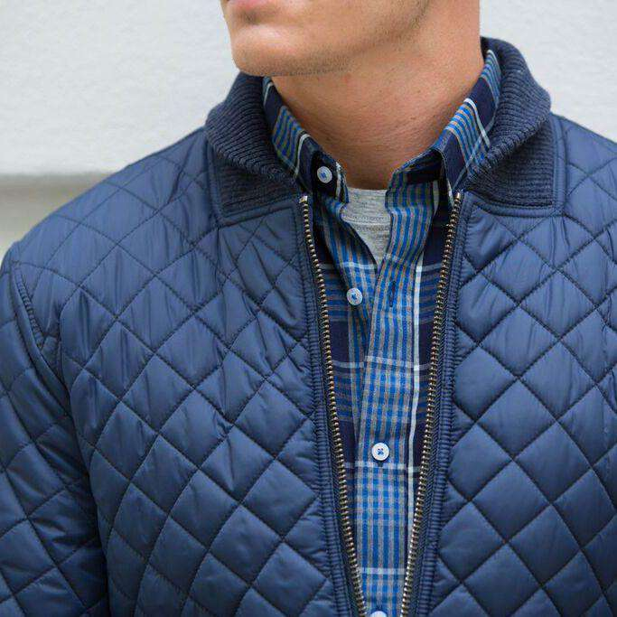 Quilted Bomber Jacket in True Navy by Southern Tide