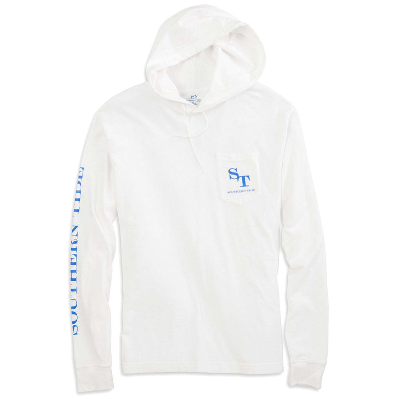 Skipjack Long Sleeve Hoodie Tee Shirt in Classic White by Southern Tide