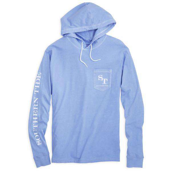 Skipjack Long Sleeve Hoodie Tee Shirt in Sail Blue by Southern Tide