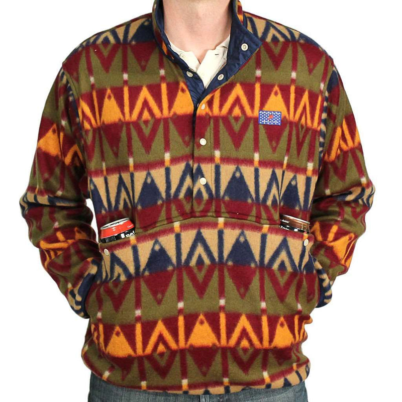 Men's Outerwear - Tailgater Fleece Pullover In Sioux Red And Brown By Blankenship Dry Goods - FINAL SALE