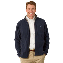 Men's Outerwear - Tidal Fleece Jacket In Navy By Castaway Clothing - FINAL SALE