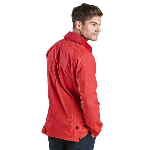 Washed Slim Bedale in Red by Barbour