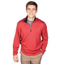 Men's Outerwear - Whale And Longshanks Jersey 1/4 Zip In Firecracker Red By Vineyard Vines