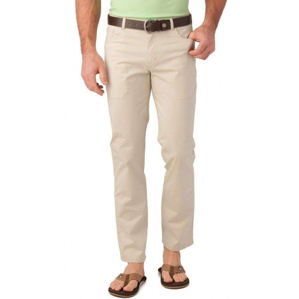 Men's Pants - 5 Pocket Tailored Fit Chino Pant In Stone By Southern Tide