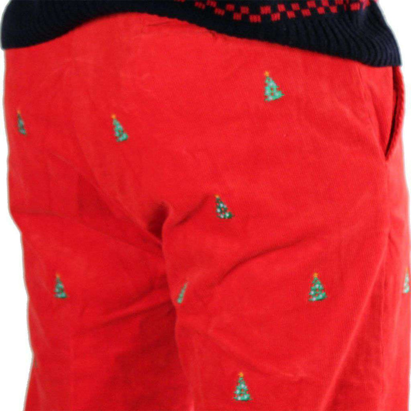 Men's Pants - Beachcomber Corduroy Pants In Bright Red With Embroidered Christmas Trees By Castaway Clothing