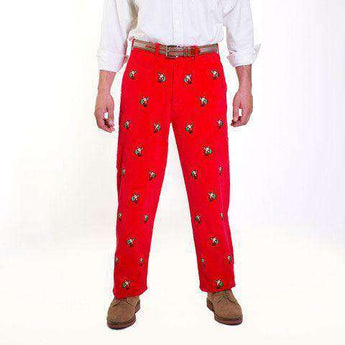Men's Pants - Beachcomber Corduroy Pants In Bright Red With Embroidered Santas By Castaway Clothing