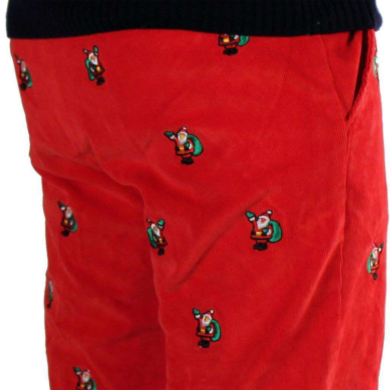 Beachcomber Corduroy Pants in Bright Red with Embroidered Santas by Castaway Clothing