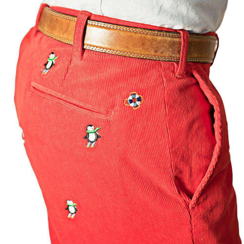 Men's Pants - Beachcomber Corduroy Pants In Crimson With Embroidered Downhill Penguin By Castaway Clothing - FINAL SALE