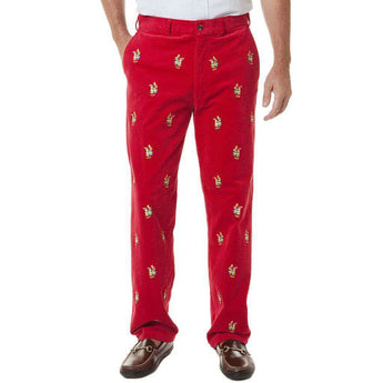 Men's Pants - Beachcomber Corduroy Pants In Crimson With Embroidered Elf Delivery By Castaway Clothing - FINAL SALE