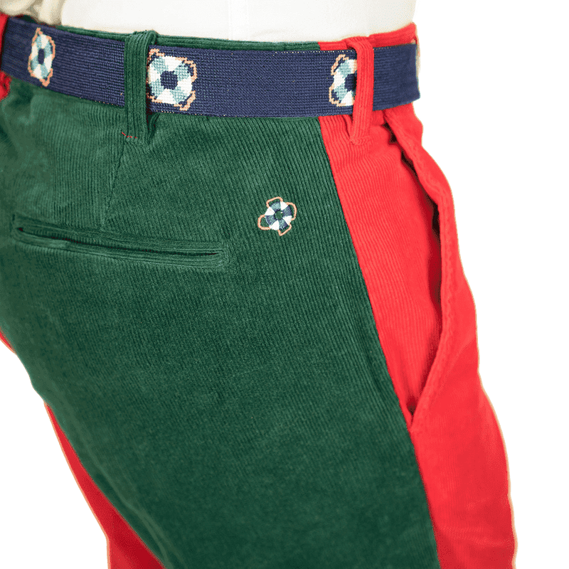 Beachcomber Corduroy Pants in Hunter Green and Crimson Panel Castaway Clothing