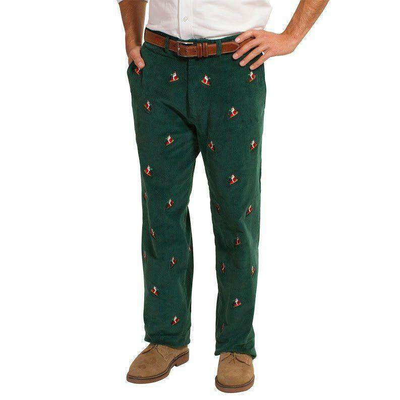 Men's Pants - Beachcomber Corduroy Pants In Hunter Green With Embroidered Santa Sled By Castaway Clothing - FINAL SALE