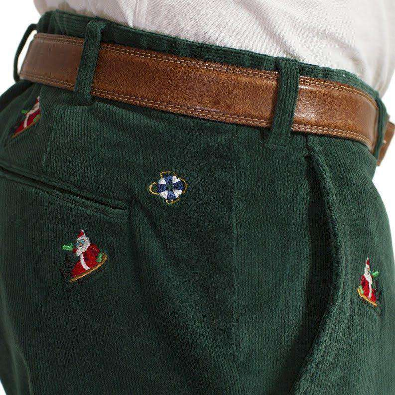 Beachcomber Corduroy Pants in Hunter Green with Embroidered Santa Sled by Castaway Clothing