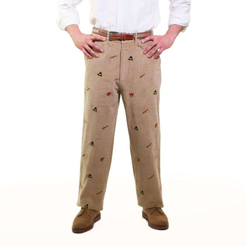 Beachcomber Corduroy Pants in Khaki with Embroidered Turkey Hunt by Castaway Clothing