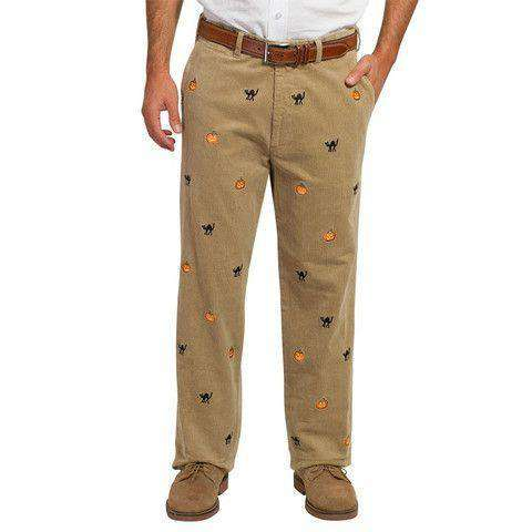 Men's Pants - Beachcomber Corduroy Pants In Khaki With Jack-O-Lantern And Black Cats By Castaway Clothing