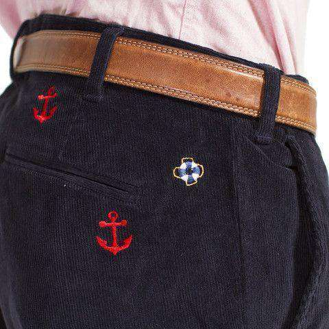 Men's Pants - Beachcomber Corduroy Pants In Nantucket Navy With Red And Green Anchors By Castaway Clothing - FINAL SALE