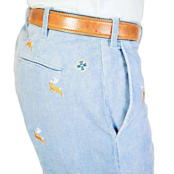 Men's Pants - Beachcomber Corduroy Pants In Storm With Embroidered Reindeer By Castaway Clothing - FINAL SALE