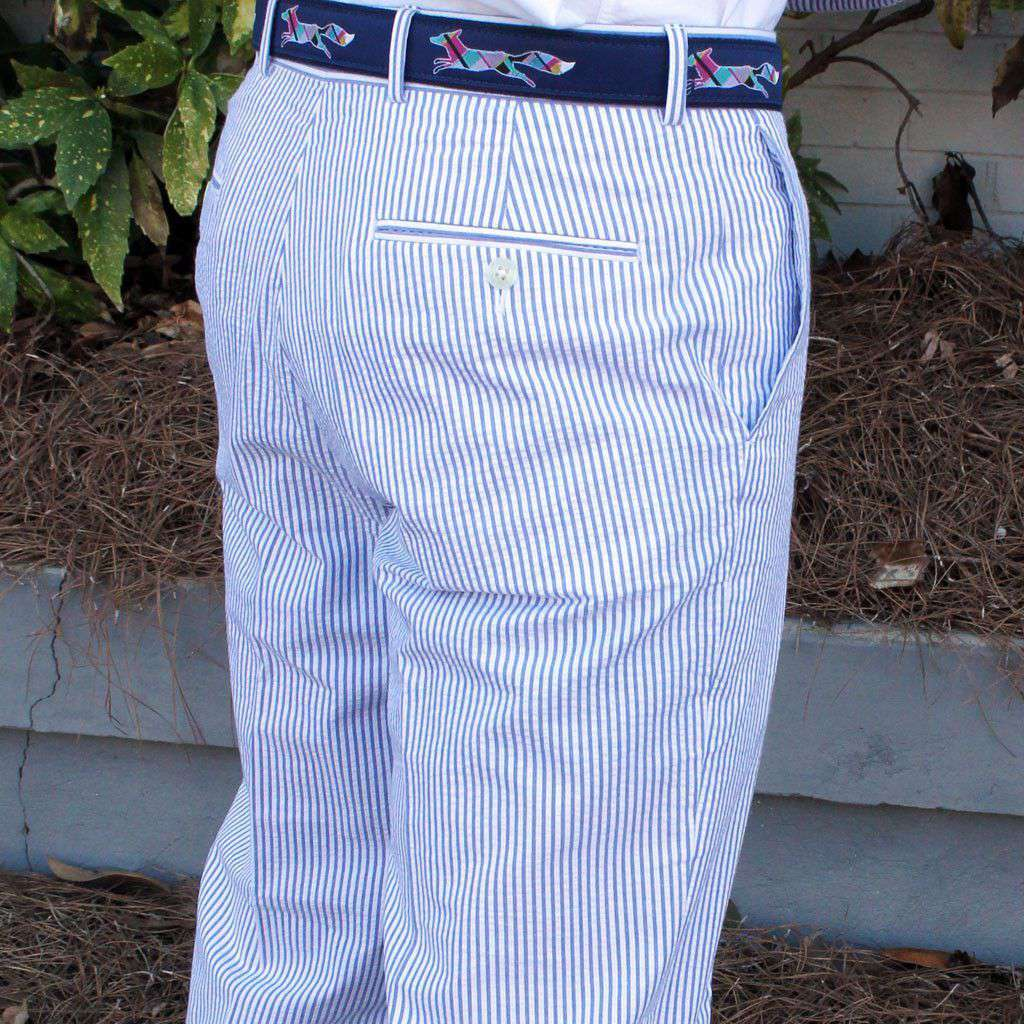 Men's Pants - Elliewood Plain-front Suit Pant In Blue Seersucker By Country Club Prep