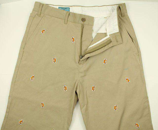 Men's Pants - Embroidered Harbor Pants In Khaki With Footballs By Castaway Clothing