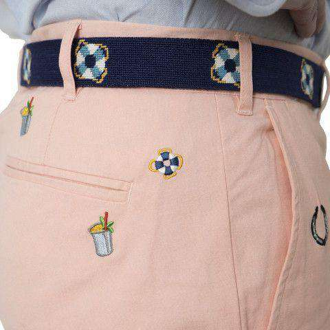 Men's Pants - Embroidered Harbor Pants In Melon Orange With Lucky Mint Julep By Castaway Clothing - FINAL SALE