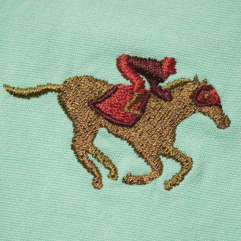 Men's Pants - Embroidered Harbor Pants In Palm Green With Racing Horse By Castaway Clothing