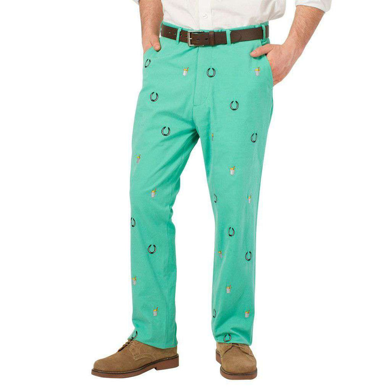 Men's Pants - Embroidered Harbor Pants In Seaglass Green With Lucky Mint Julep By Castaway Clothing