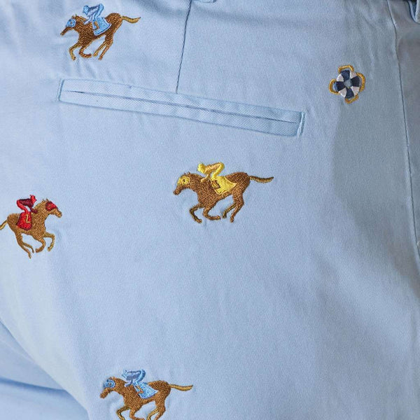 Men's Pants - Harbor Pant In Liberty With Embroidered Racing Horses By Castaway Clothing