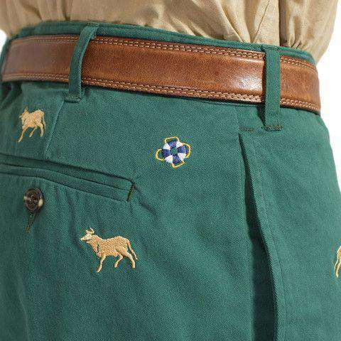 Mariner Pants in Hunter Green with Bull and Bear by Castaway Clothing - FINAL SALE