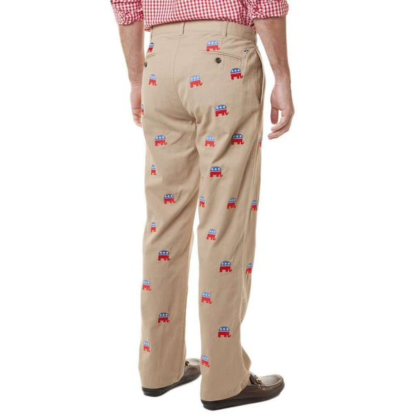 Mariner Pants in Tan with Republican Elephants by Castaway Clothing - FINAL SALE