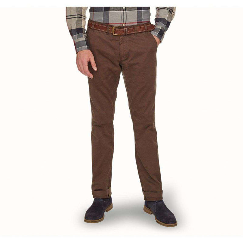 Men's Pants - Neuston Twill Trousers In Dark Olive By Barbour