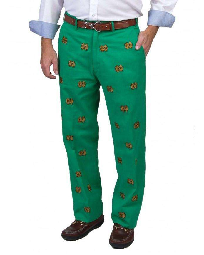 Men's Pants - Notre Dame Stadium Pant In Green By Pennington & Bailes
