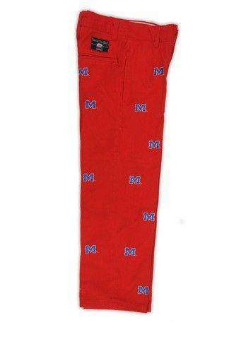 Ole Miss Stadium Pant in Red by Pennington & Bailes