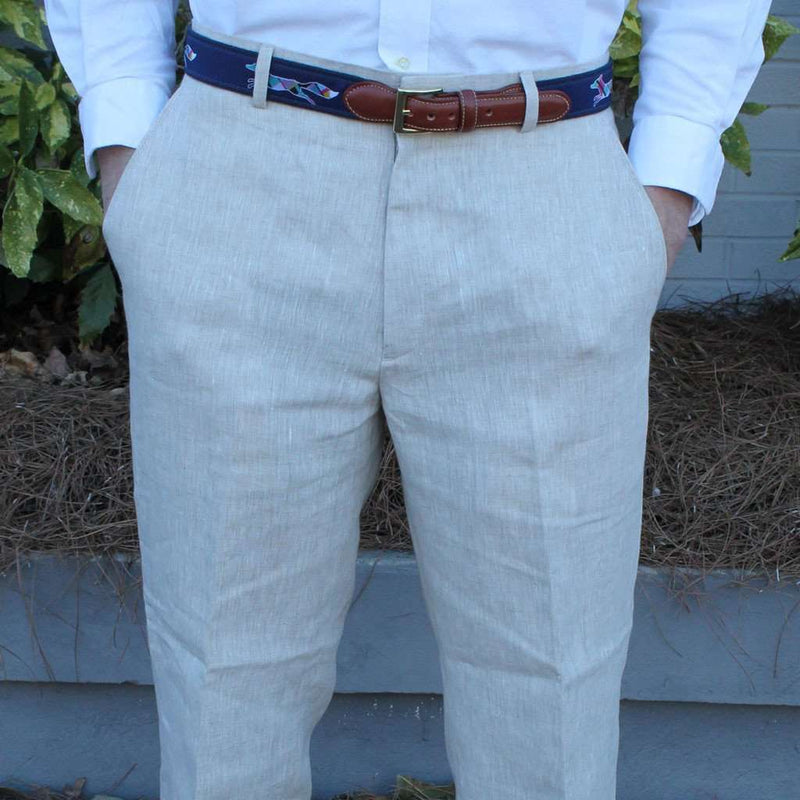 Men's Pants - Rugby Plain-front Pant In Natural Tan Linen By Country Club Prep - FINAL SALE