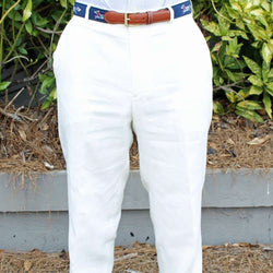 Men's Pants - Rugby Plain-front Pant In White Linen By Country Club Prep - FINAL SALE