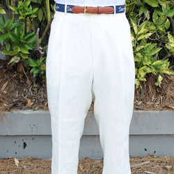 Men's Pants - Rugby Pleated Pant In White Linen By Country Club Prep