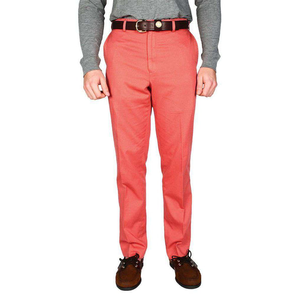 Men's Pants - Tailored Fit Chino Pant In Washed Red By Country Club Prep - FINAL SALE