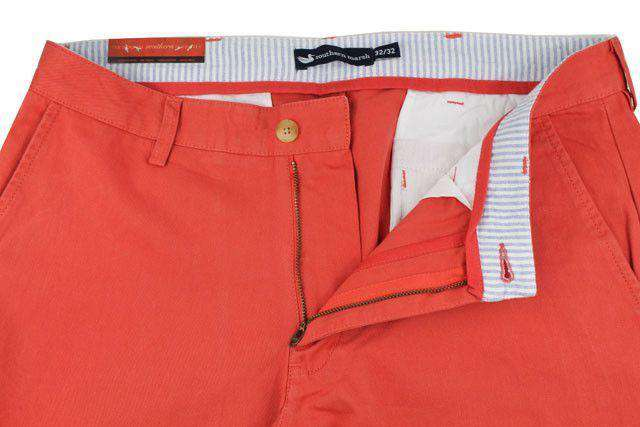 Men's Pants - The Wharf Pant In Vintage Red By Southern Marsh
